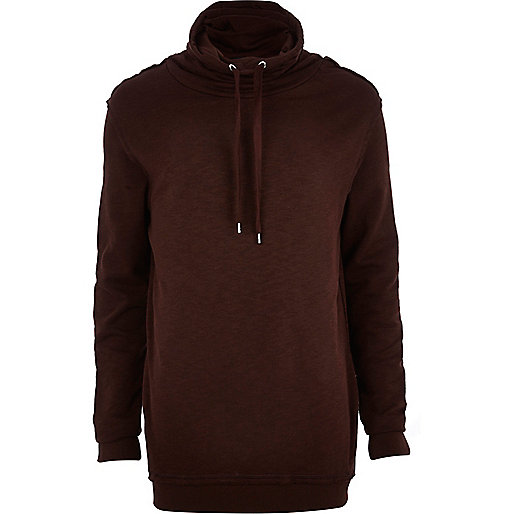 Dark red funnel neck sweatshirt