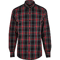Black tartan check long sleeve shirt