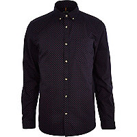 Navy ditsy polka dot print long sleeve shirt