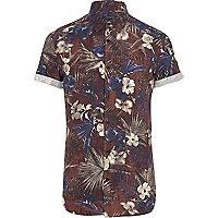 Brown floral print short sleeve shirt