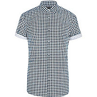 Teal gingham short sleeve shirt