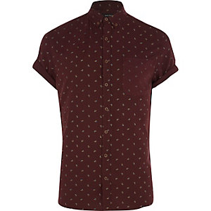 Dark red ditsy paisley print shirt