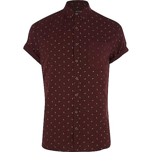 Dark red ditsy paisley print shirt
