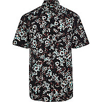 Black blurred floral print short sleeve shirt