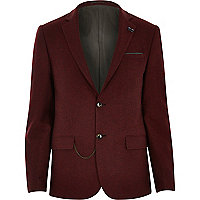 Red tweed woollen chain trim blazer