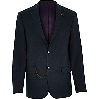 Blue tweed woollen chain trim blazer
