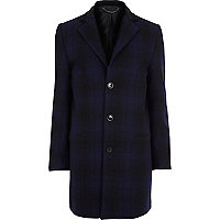 Blue check wool jacket