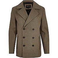 Brown smart wool pea coat
