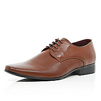 Brown perforated panel pointed formal shoes