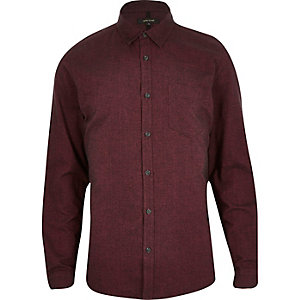Red brushed cotton long sleeve shirt