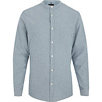 Light blue brushed cotton grandad shirt