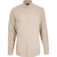 Camel brushed cotton long sleeve shirt