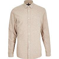 Camel brushed cotton long sleeve shirt