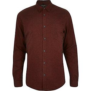 Orange brushed cotton long sleeve shirt