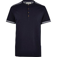 Navy colour block grandad polo shirt