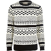 Black RVLT graphic print knitted jumper