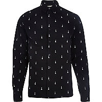 Black RVLT guitar print long sleeve shirt