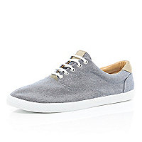 Navy chambray plimsolls