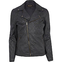 Black leather-look quilted biker jacket
