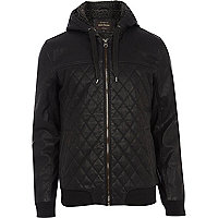 Black leather-look bomber zip through jacket