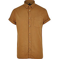 Light brown short sleeve Oxford shirt