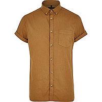 Light brown short sleeve Oxford shirt