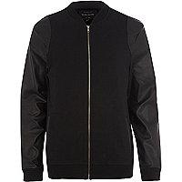 Black leather-look sleeve bomber jacket