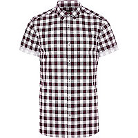 Dark red check short sleeve shirt