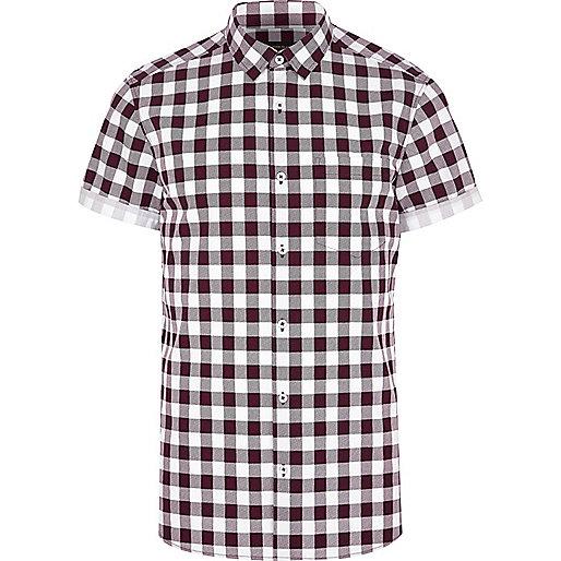 Dark red check short sleeve shirt
