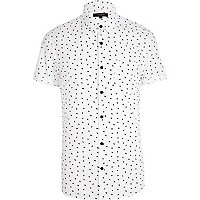 White lightening print short sleeve shirt