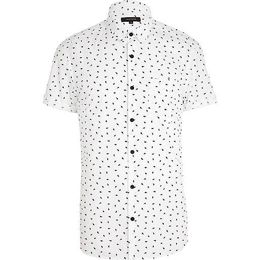 White lightening print short sleeve shirt