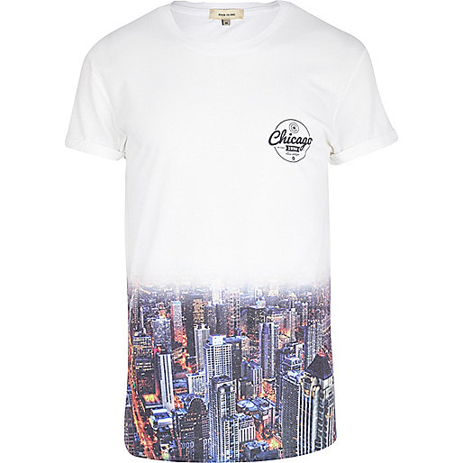 White ombre Chicago print t-shirt
