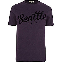 Purple Seattle flocked print t-shirt