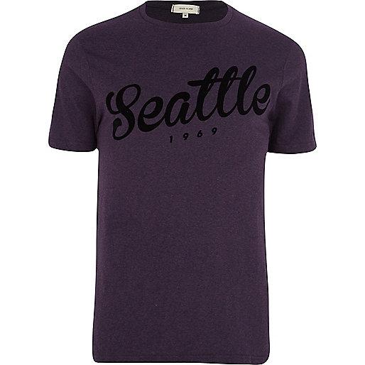 Purple Seattle flocked print t-shirt
