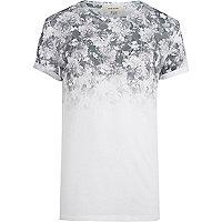 White floral ombre yoke t-shirt