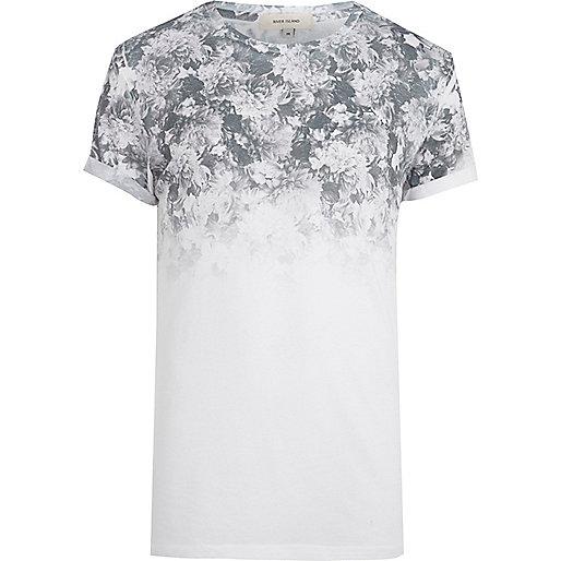 White gradient floral print t-shirt
