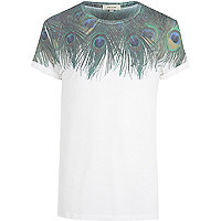 White peacock print yoke t-shirt