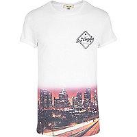 White ombre LA print t-shirt