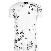 White doodle print t-shirt