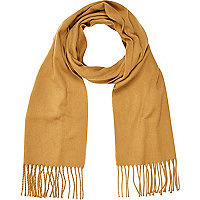 Brown brushed woven scarf