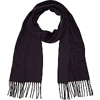 Navy brushed woven scarf