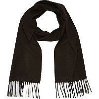 Black brushed woven scarf