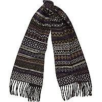 Blue fair isle woven scarf