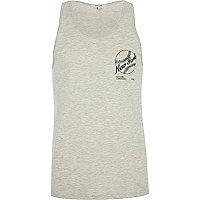 Grey marl New York baseball print vest
