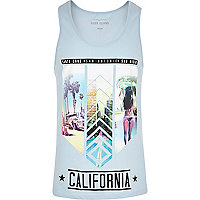 Light blue California print vest