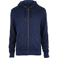 Navy textured zip through hoodie