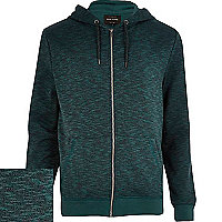 Dark green textured zip through hoodie