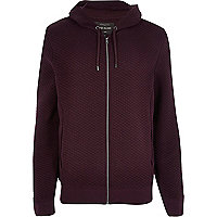Dark red quilted zip through hoodie