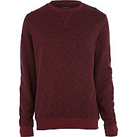 Dark red slub textured sweatshirt