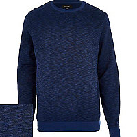 Navy blue slub textured sweatshirt